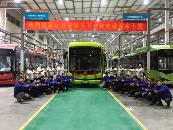BYD ha producido 50.000 buses eléctricos en nueve años