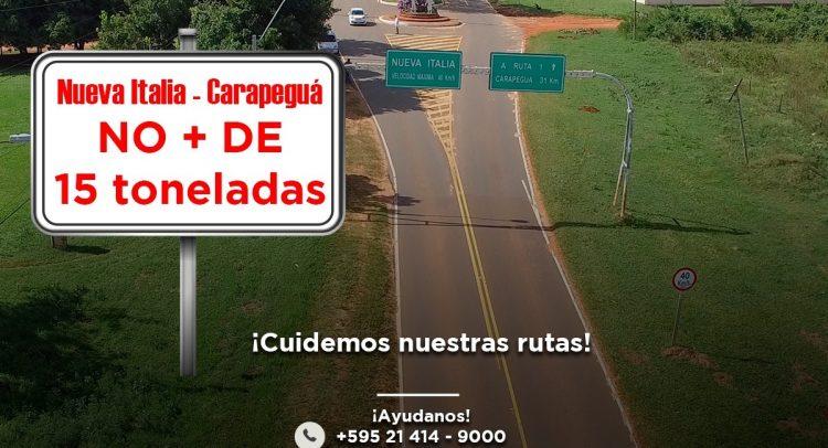 MOPC autoriza la circulación de camiones de hasta 15 toneladas por el tramo Carapeguá-Nueva Italia